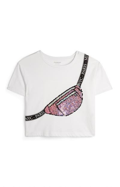 Older Girl White Sequin Bum Bag Print T-Shirt