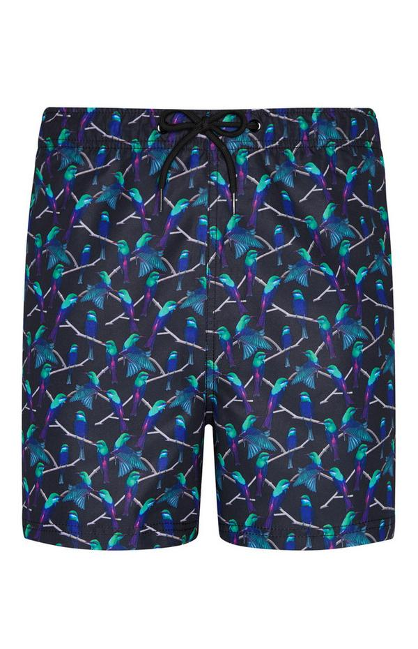 Exotic Bird Print Swim Shorts
