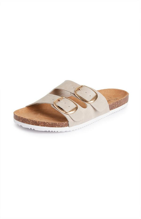 Beige sandalen met voetbed en twee bandjes