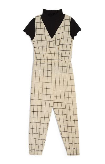 Younger Girl Two In One Cream Check Jumpsuit And Polo Top