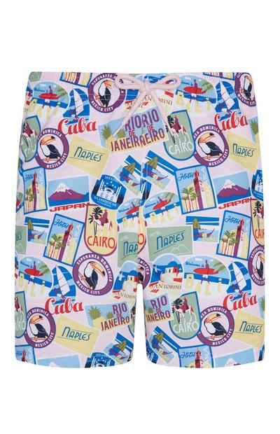 Travel Tag Print Swim Shorts