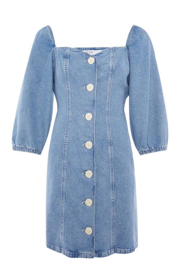 Modra neprožna obleka iz džinsa z napihnjenimi rokavi