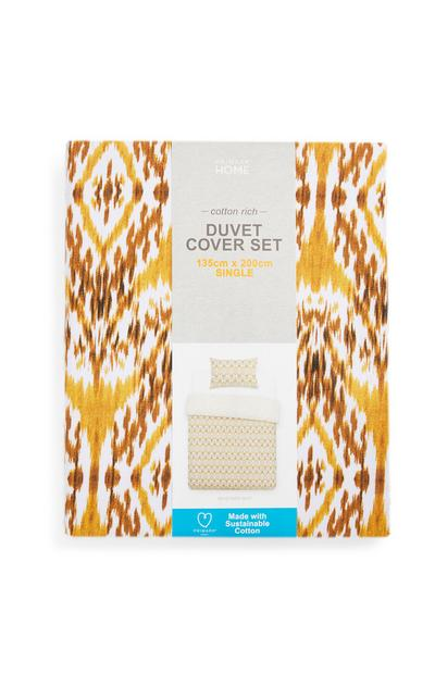 Mustard Knit Duvet Cover Set