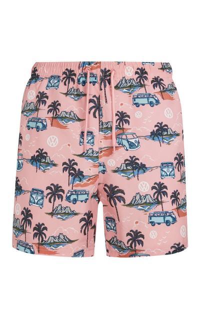 Pink Volkswagen Print Swim Shorts