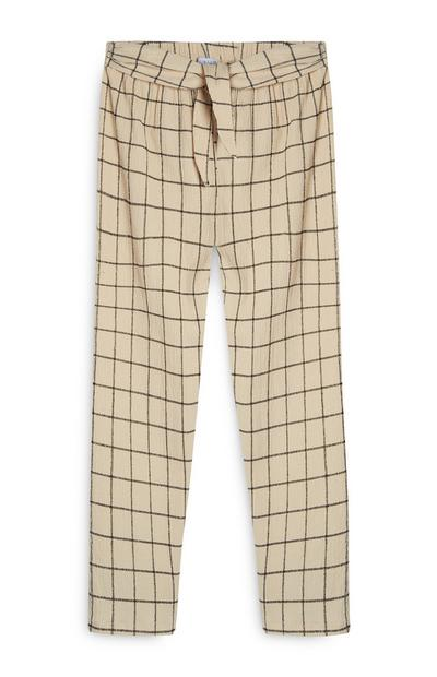 Older Girl Cream Check Trousers
