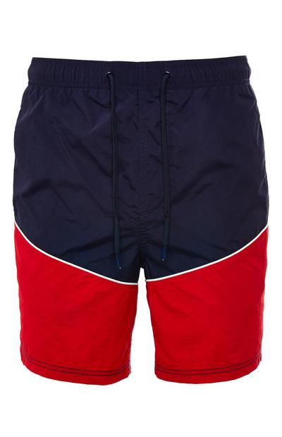Navy And Red Colorblock Sporty Tie Waist Shorts