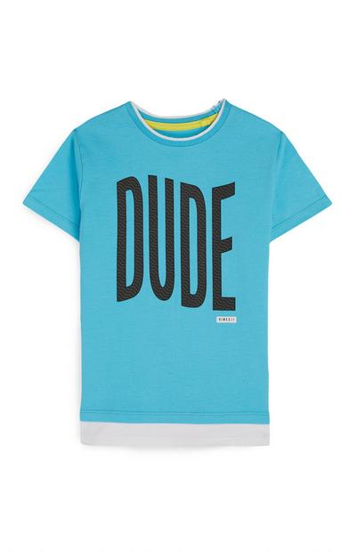 Younger Boy Blue Dude Slogan T-Shirt