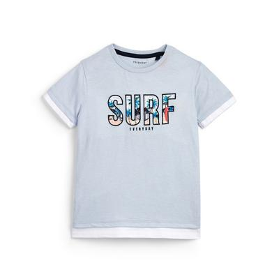 Younger Boy Surf Slogan Grey T-Shirt