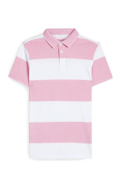 Pink And White Striped Polo Shirt