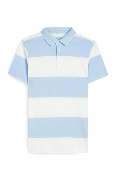 Blue And White Striped Polo Shirt