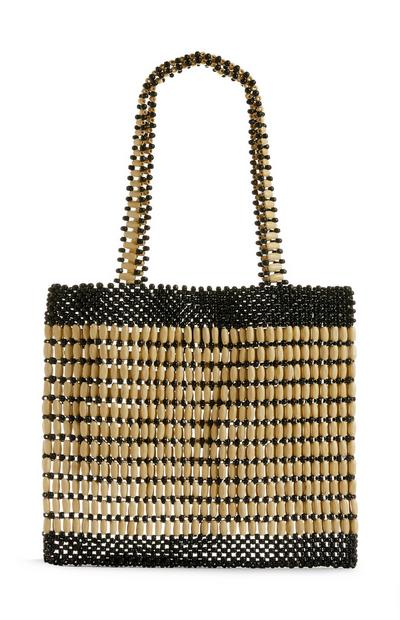 Black and Beige Wooden Beaded Tote