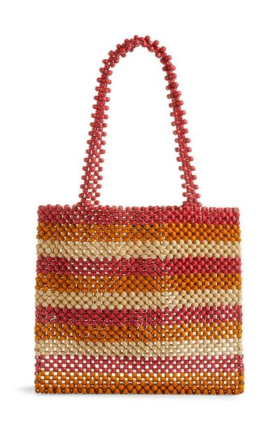 Striped Wooden Beaded Grab Bag