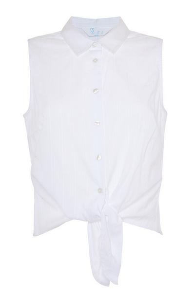 White Sleeveless Tie Front Shirt