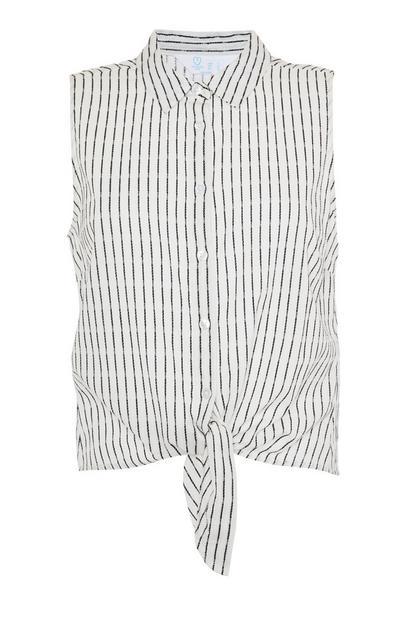 White Striped Sleeveless Tie Front Shirt