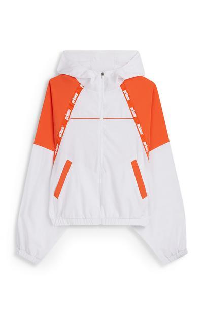 Chaqueta con capucha de malla blanca y naranja Prince