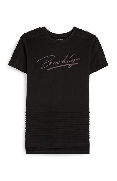 T-shirt nera con scritta Brooklyn da ragazzo