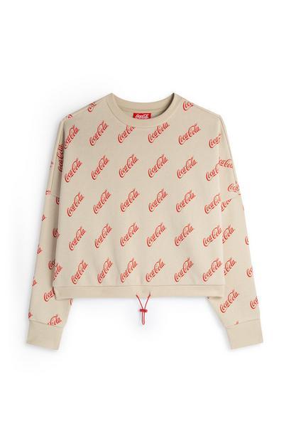 Cream Coca-Cola Cropped Sweatshirt