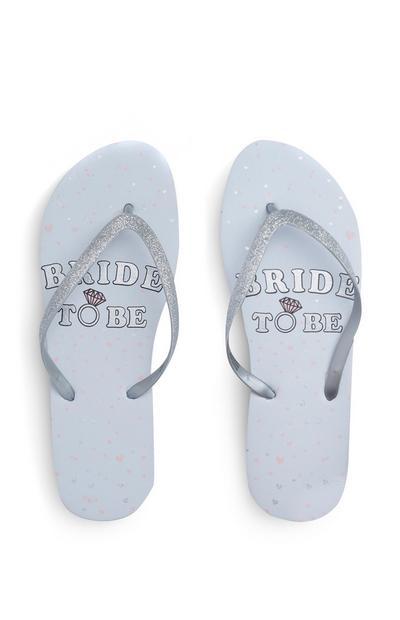 Zilverkleurige teenslippers met glitters Bride To Be