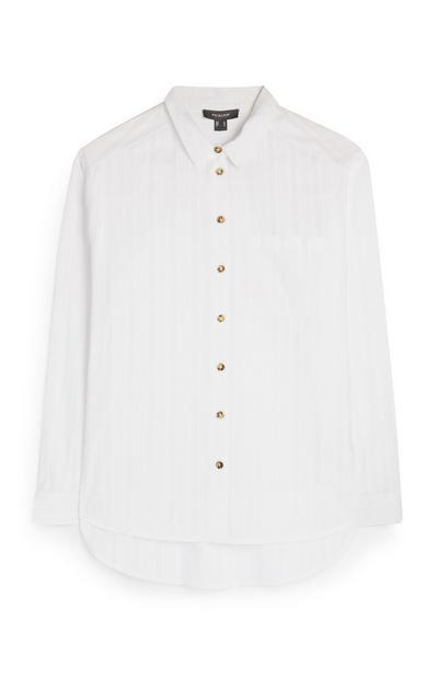 Weißes Baumwollhemd mit Knopfleiste