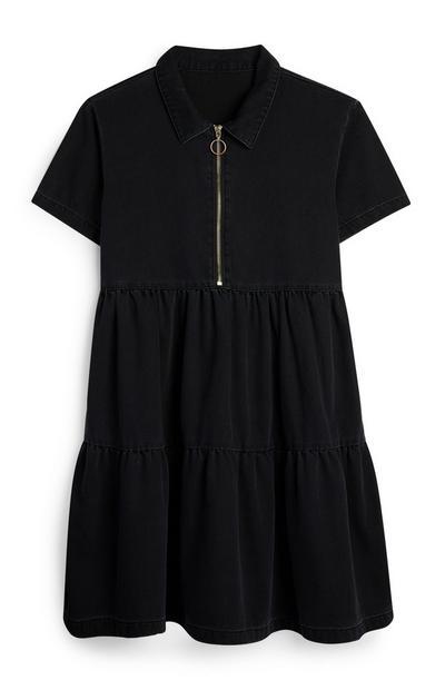 Black Zip Up Denim Dress
