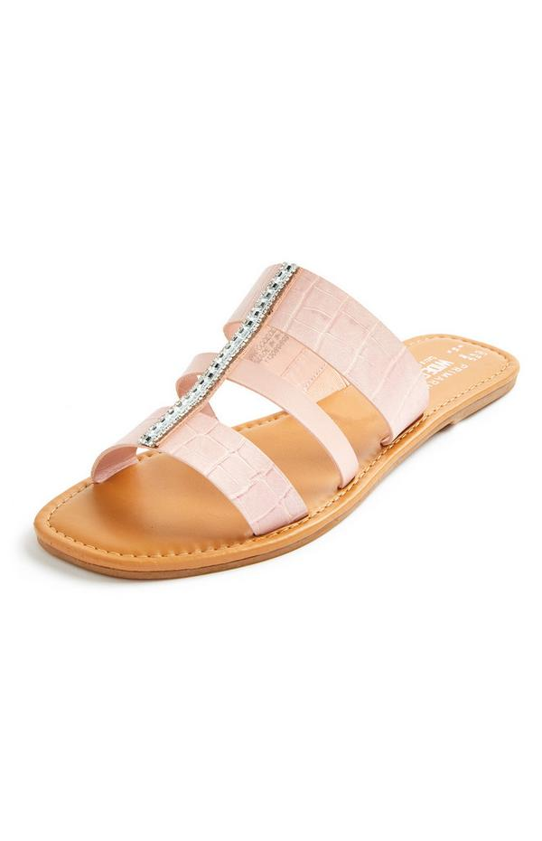 Light Pink Faux Croc Skin Diamante Strap Mules