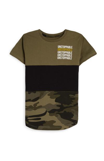 Younger Boy Camo Print Khaki T-Shirt