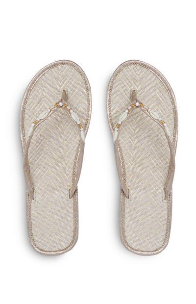 Gold Raffia Shell Embellished Flip Flops