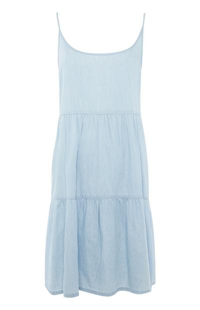 Light Blue Tiered Cami Mini Dress