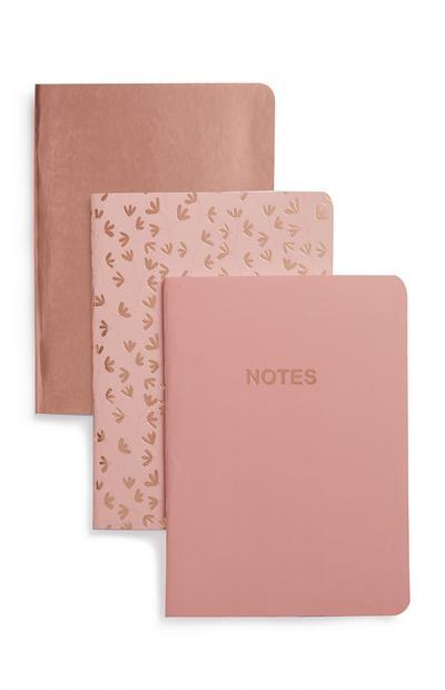 Lot de 3 carnets A6 or rose et rose
