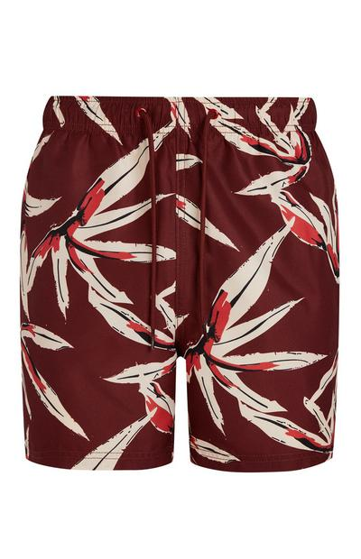 Burgundy Bamboo Leaf Print Swim Shorts