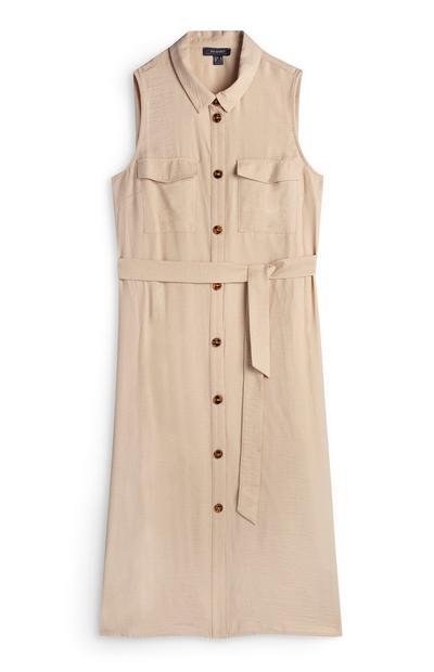 Beige Sleeveless Button Up Midi Dress