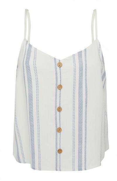 Camiseta de tirantes blanca con rayas costeras y botones
