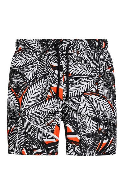 Black And White Leaf Print Swim Shorts