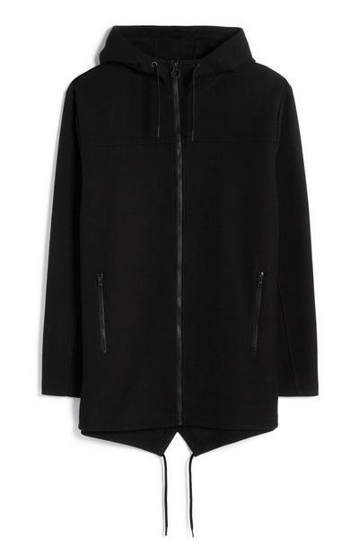 Black Longline Drawstring Jacket