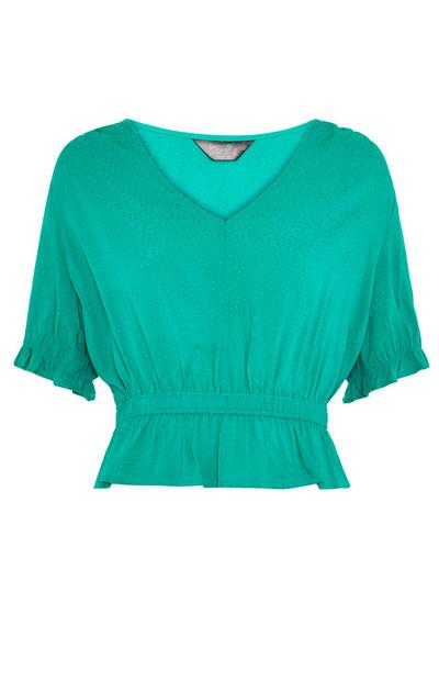 Mint Green Ruffle Hem Peplum Blouse