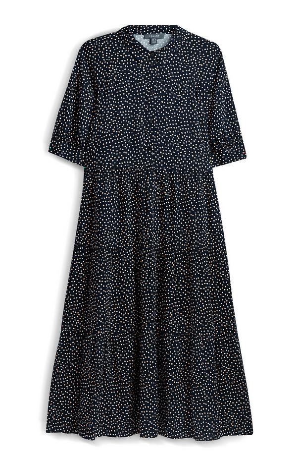 Črna pikčasta dolga obleka