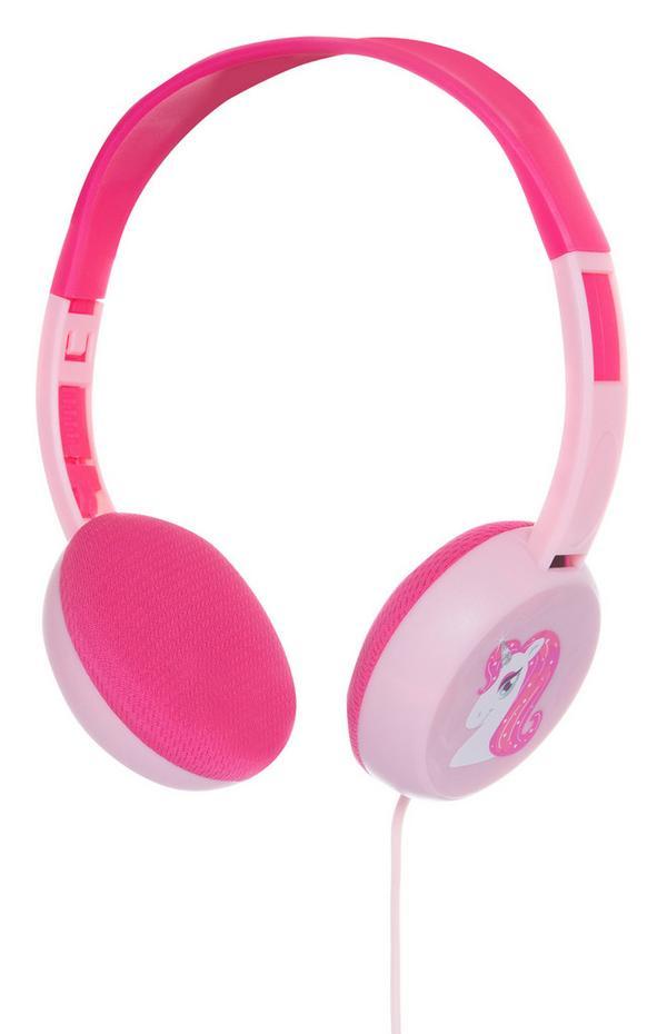 Pinkfarbene Kopfhörer mit Einhorn-Print