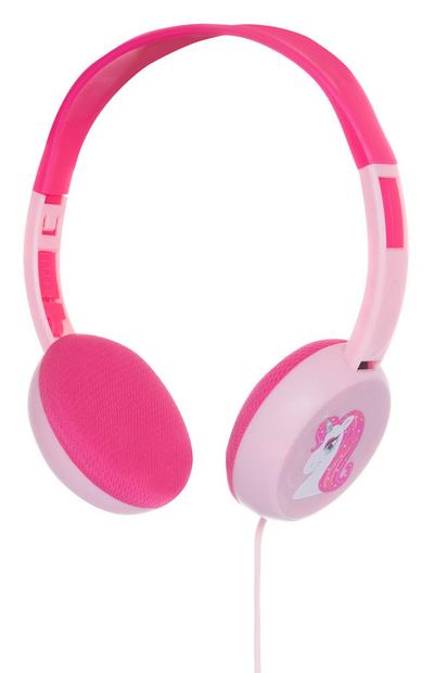 Casque audio rose licorne