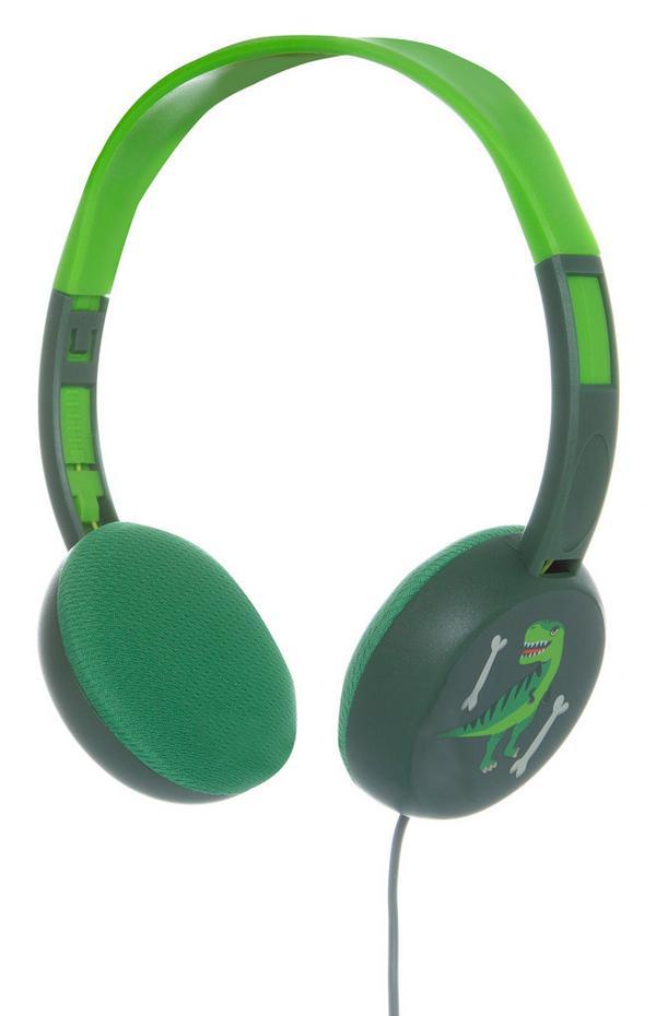 Grüne Kopfhörer mit Dinosaurierprint