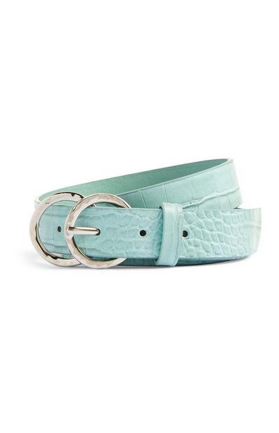 Mint Croc Print Belt
