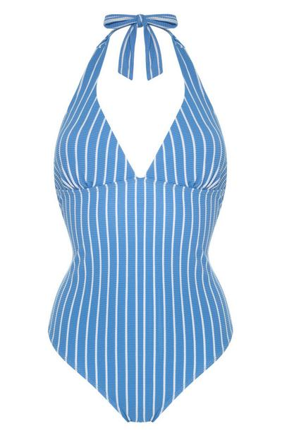 Blue Vertical Stripe Halter Neck Control Swimsuit
