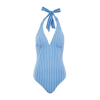 Blue Striped Halter Control Swimsuit
