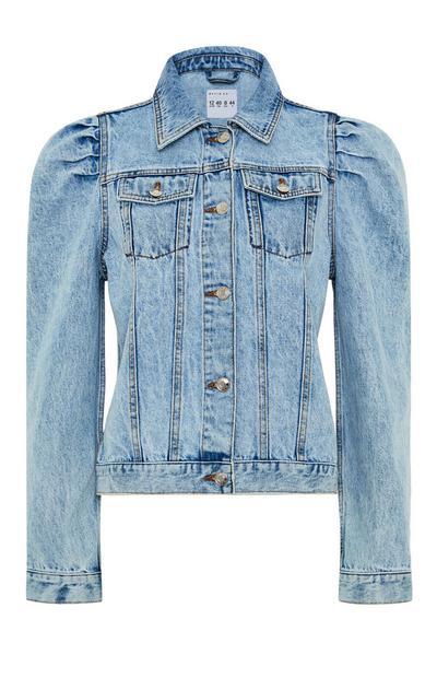 Modra jakna iz džinsa z napihnjenimi rameni