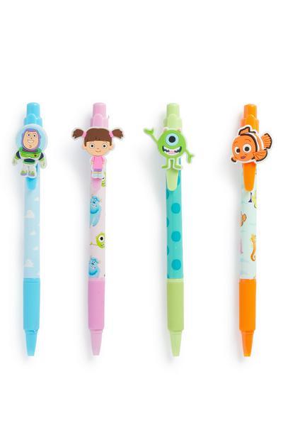 Lot de 4 stylos colorés personnages Pixar
