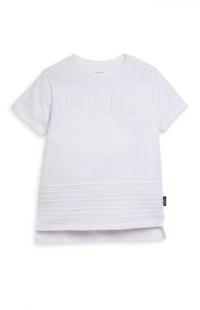 Younger Boy White Embosses Epic Slogan T-Shirt