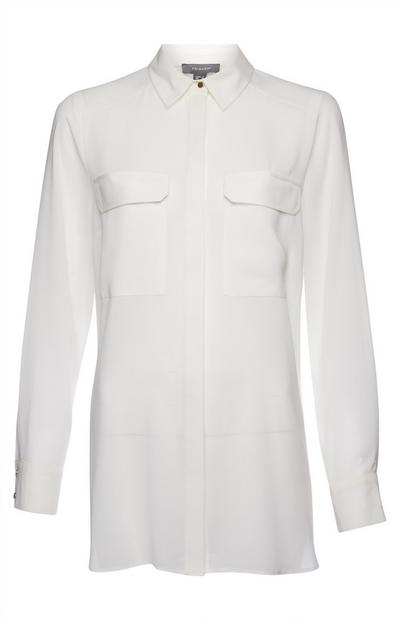 Ivory Sheer Longline Shirt