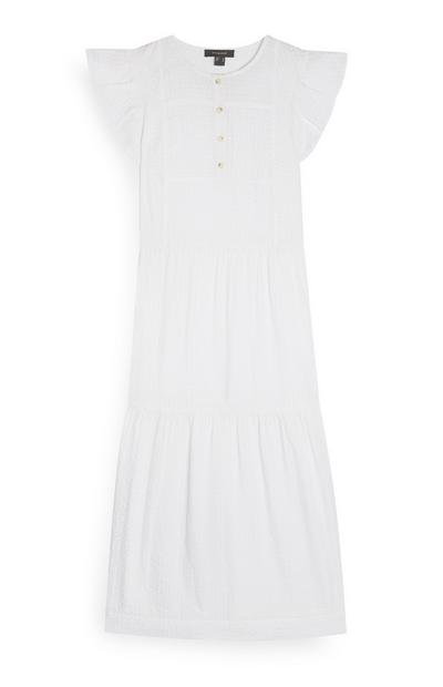 White Frill Sleeve Tiered Midi Dress