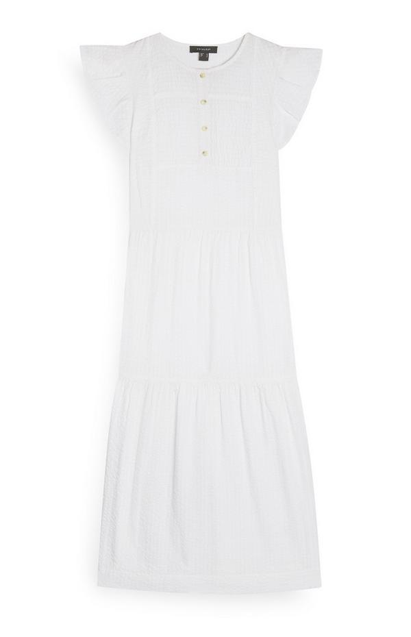 White Frill Sleeve Tiered Midi Dress