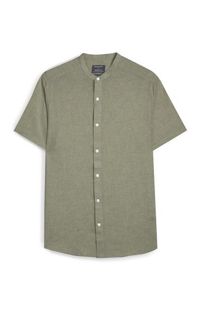 Khaki Button Up Short Sleeve Shirt