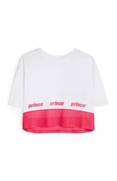 Belo-rožnata mrežasta majica Prince